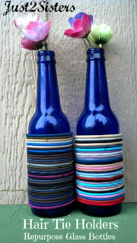 Repurpose Glass Bottles into Hair Tie Holders!