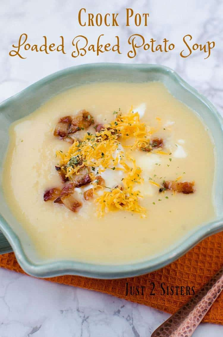 Soup in the slow cooker is a great meal for busy weeknights. Put all of the ingredients in and you'll have delicious crock pot loaded baked potato soup.