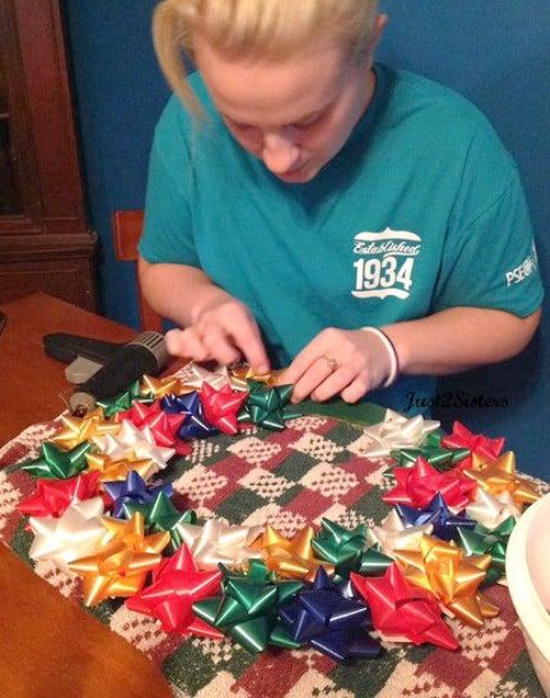 Christmas bow wreath Progress