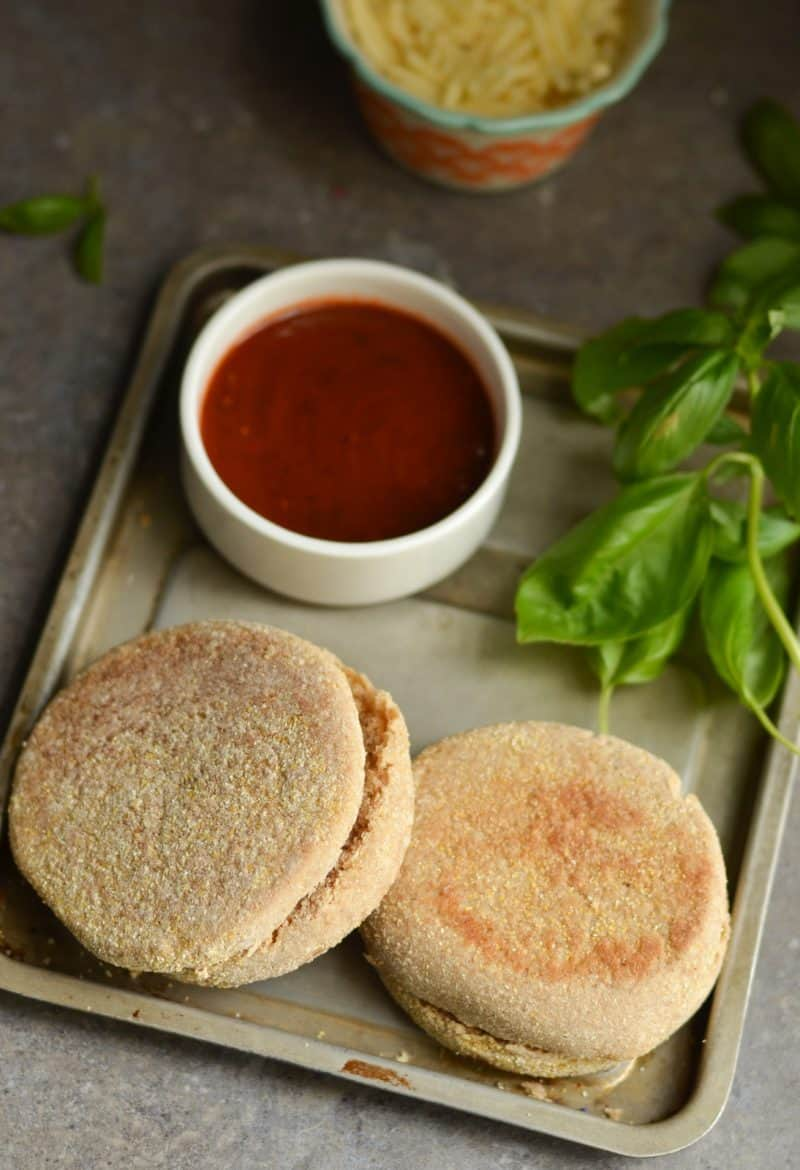 English muffin pizzas are a quick easy lunch that is low in Weight Watchers points plus you can add and create what ever combinations you want.
