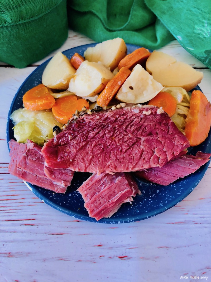 A look at the finished crock pot corned beef and cabbage recipe ready to eat.