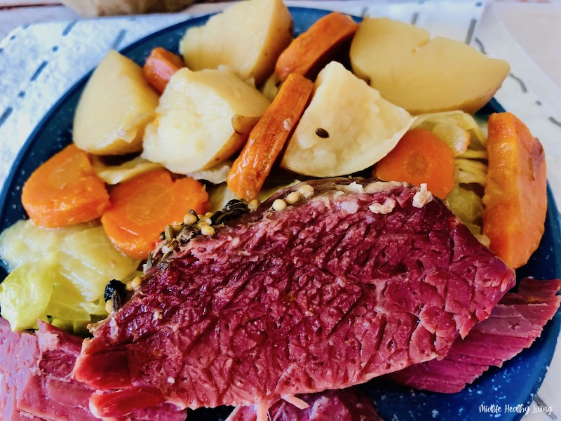 Finished crockpot corned beef ready to eat.