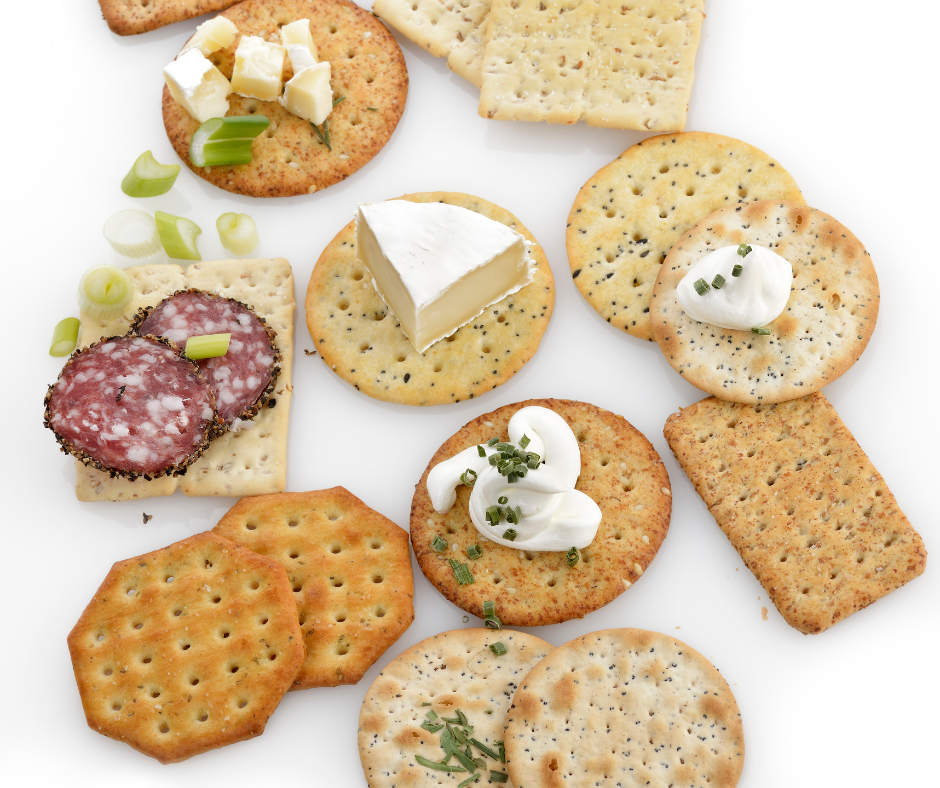 Low point weight watchers snacks crackers with toppings.