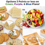 Pin showing some low point weight watchers snacks with title across the top indicating that there are options for all three plans.