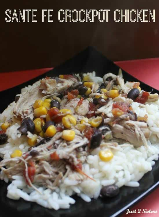 Easy recipe for your slow cooker or crock pot cooking. Santa Fe Chicken is an easy family meal that can be served over rice, chips or eaten as is. #slowcookerrecipes