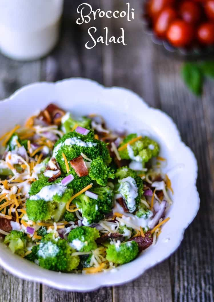 Quick and easy broccoli salad recipe that is lightened up by changing a few of the ingredients.