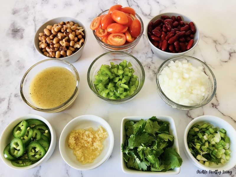 ingredients ready to be made into Texas caviar.