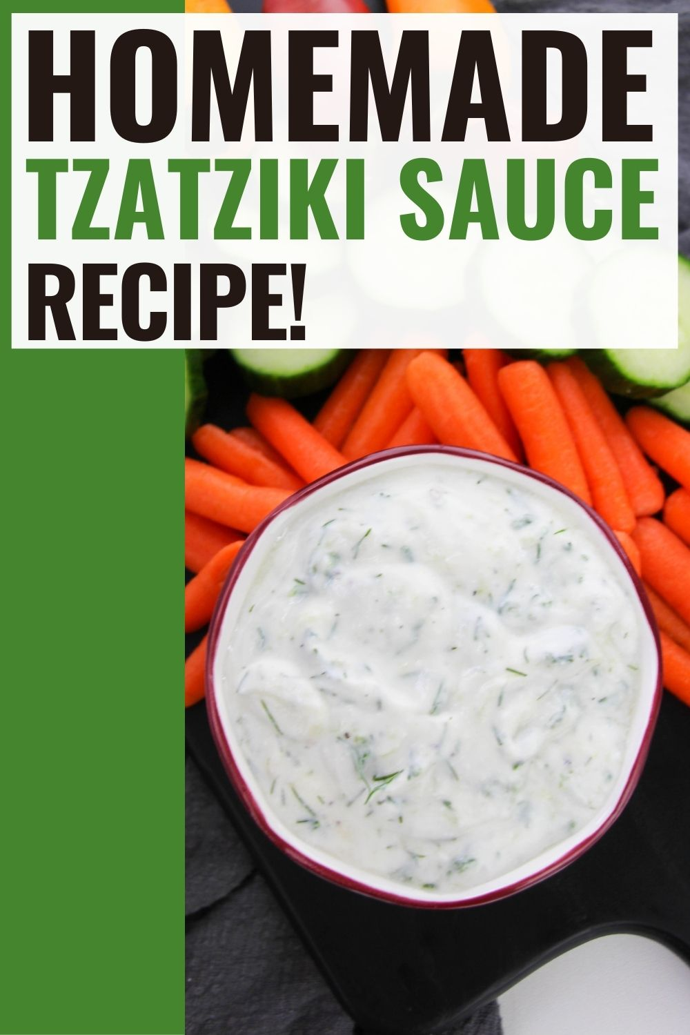 pin showing the finished tzatziki sauce ready to eat.