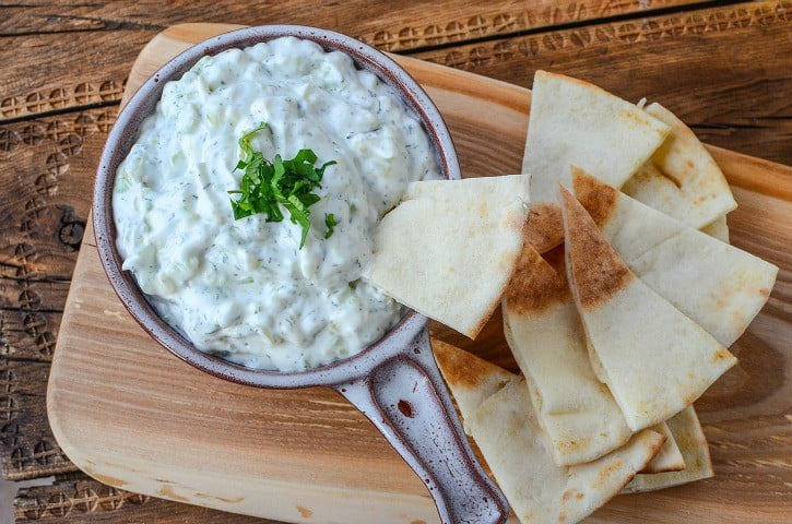Tzatziki Sauce with pita chips is the bomb!