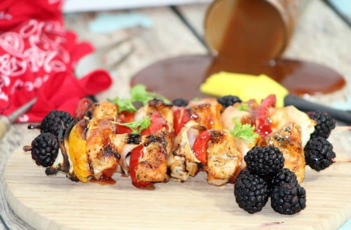 2 Chicken Kabobs with Blackberry BBQ Sauce
