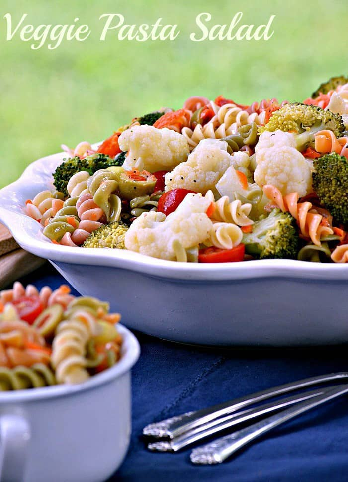 Veggie Pasta salad is loaded with color and food that is good for you! Making pasta salad for summer meals is an easy way to have an easy dish packed with nutrition without a lot of fuss.