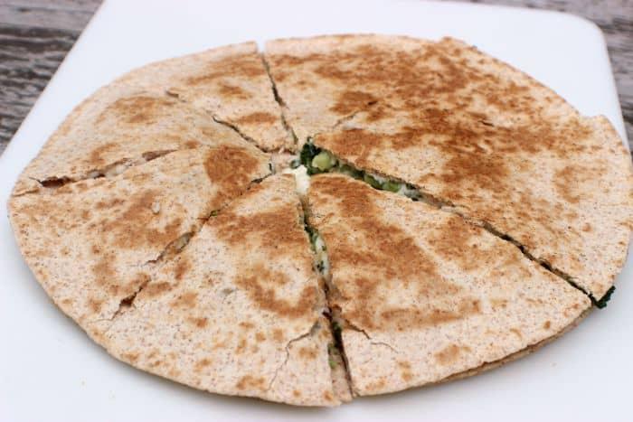 Cut quesadilla with pizza cutter