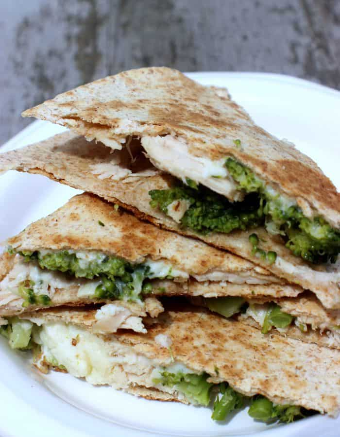 Turkey Broccoli Alfredo Quesadillas are an easy weeknight dinner in a flash!
