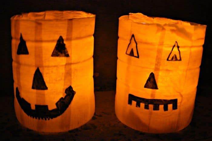 2 pumpkin luminaries