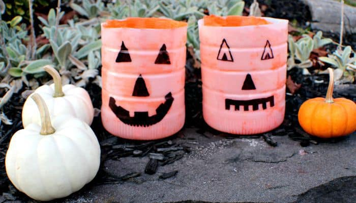 pumpkin luminaries outside