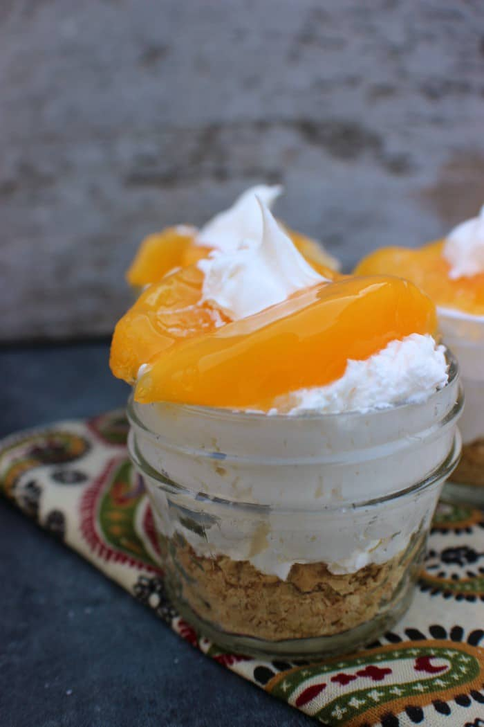 Peach No Bake Cheesecake dessert. Enjoy this delicious dessert without the guilt this holiday season.
