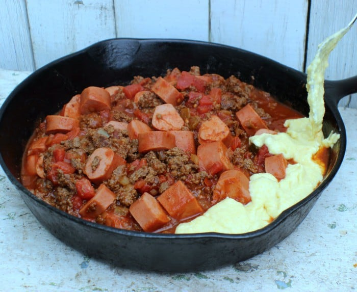 Spicy Chili Dog Casserole Corn bread