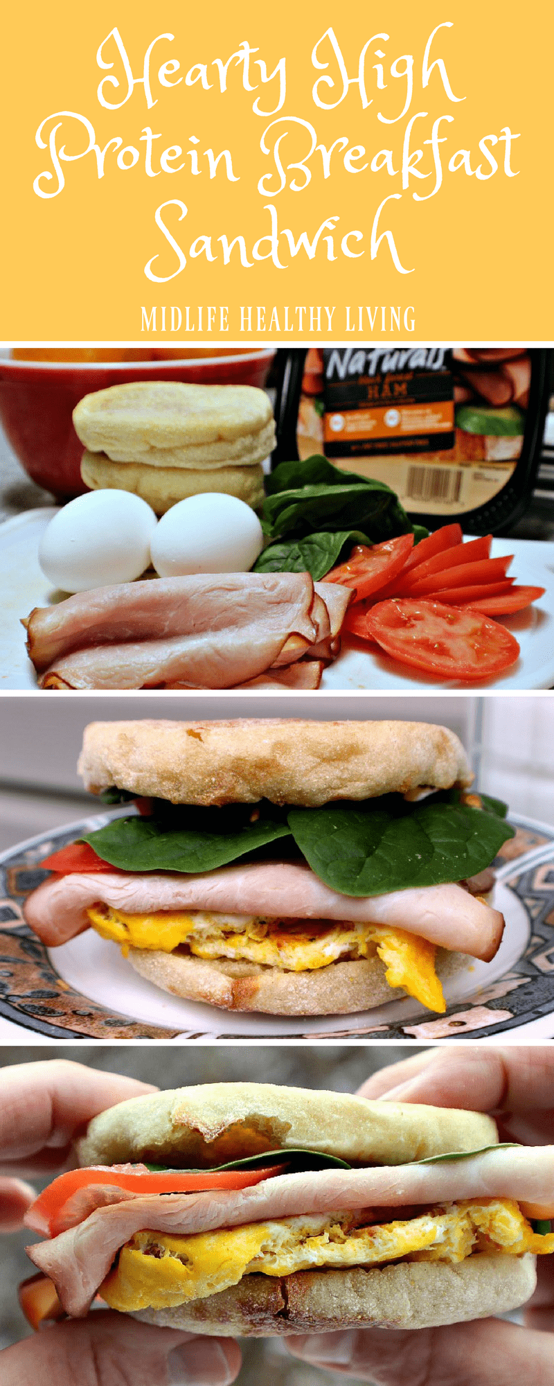 This Hearty High Protein Breakfast Sandwich can be prepared in advance and refrigerated or frozen until you want to eat one. When your on your way out the door in the morning, heat one up, add your toppings and your ready to start the day out on the right foot. #WeightWatchers #breakfast #Freestyle #WWrecipes #eggrecipes #highprotein