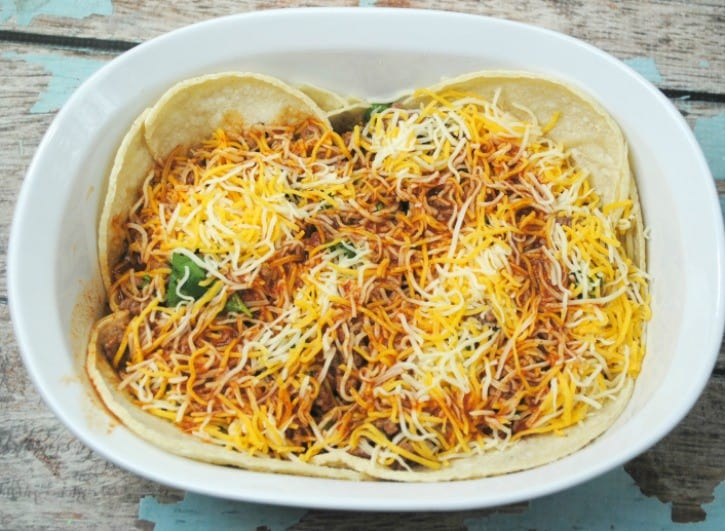 Beef Enchilada Casserole also known as Mexican Lasagna