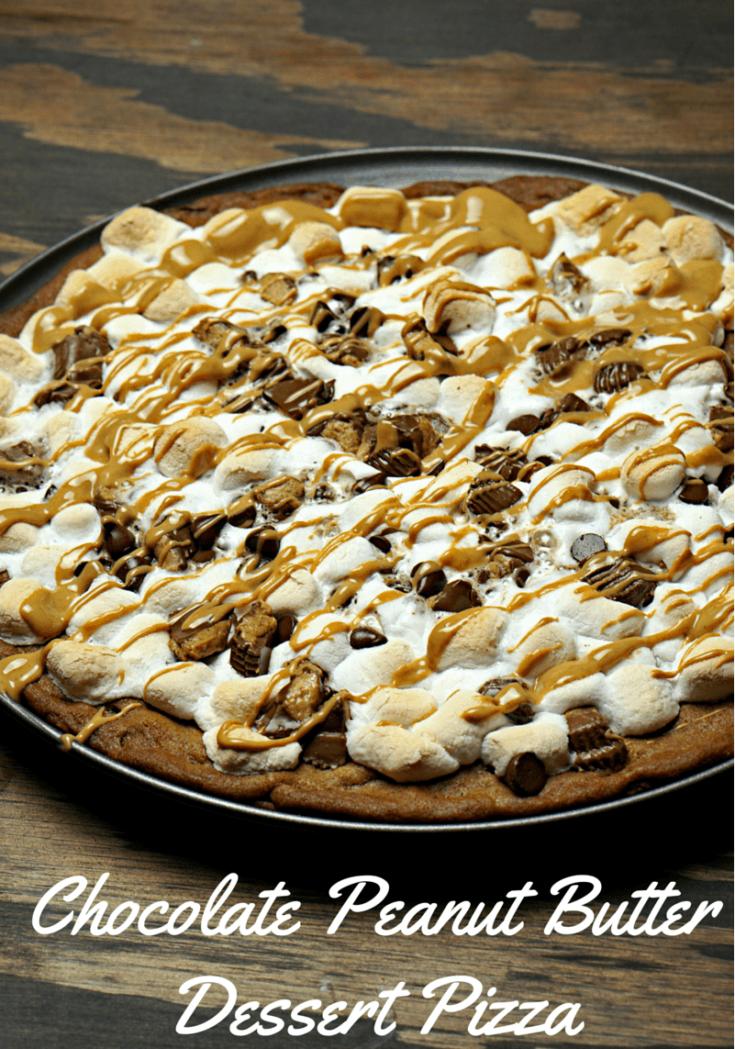 Chocolate Peanut Butter Dessert Pizza www.just2sisters.com