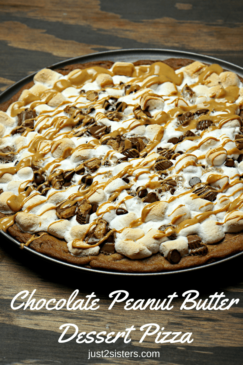 Chocolate Peanut Butter Dessert Pizza www.just2sisters.com