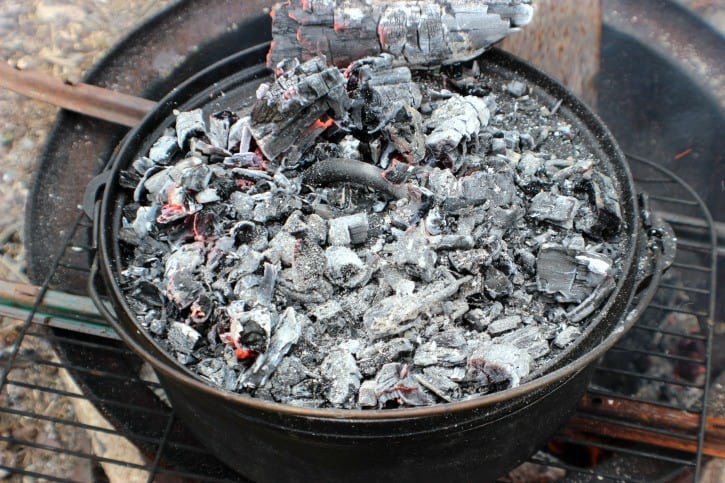Blackberry Campfire Cobbler baking