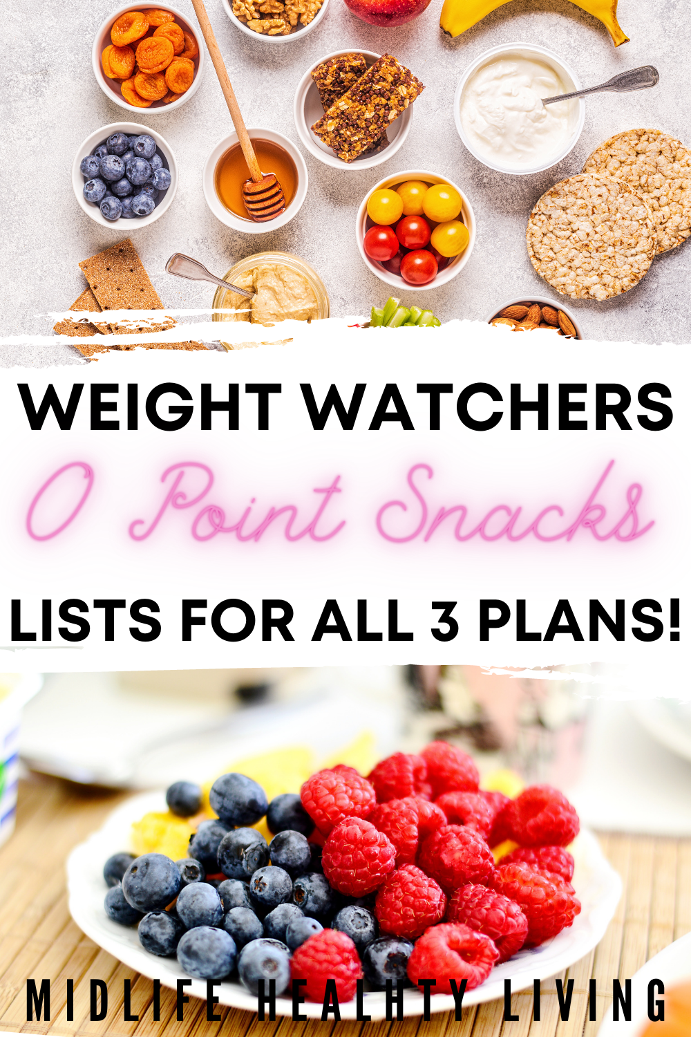 Pin showing healthy snacks with the title of weight watchers snacks less than 1 freestyle smart point