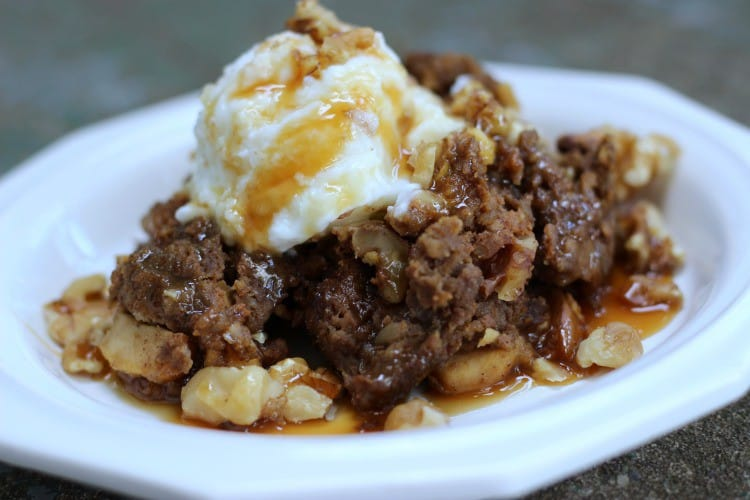 Apple Walnut Slow Cooker Bread Pudding