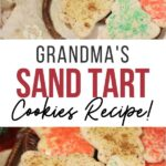 pin showing the finished grandmas sand tart cookies ready to eat with title across th e middle.