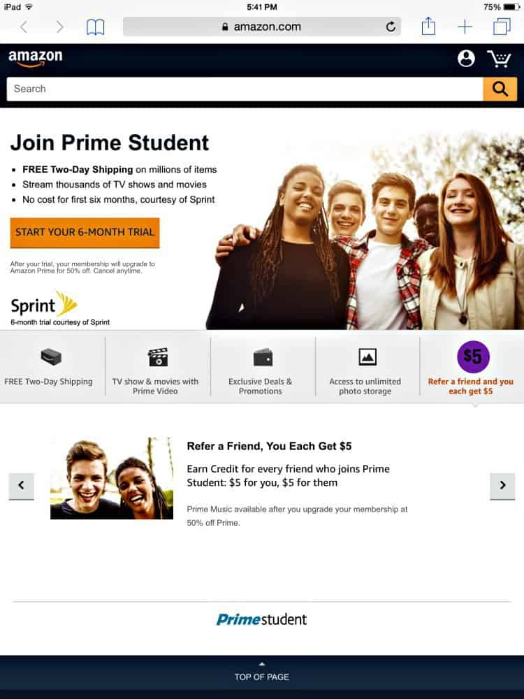 Join Amazon Prime Student to make college life easier.