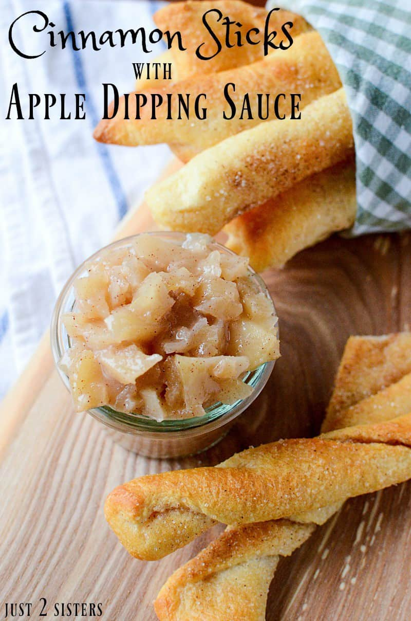 These cinnamon sticks and apple dipping sauce would make a great dessert recipe for a quick and easy snack.