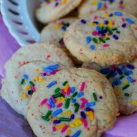 Cherry Chip Cake Mix Cookies with Sprinkles