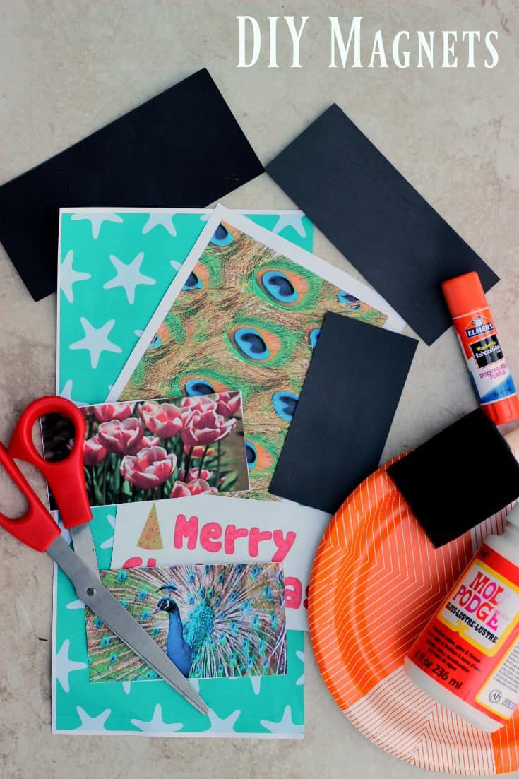 Easy DIY Magnets make a great addition to a holiday basket, Christmas cards or thank you notes. Spruce up your refrigerator with a cute new project.