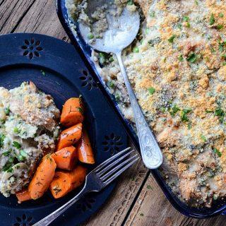 Mushroom Chicken Quinoa Bake