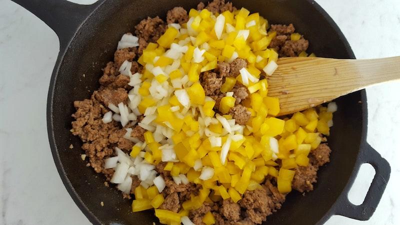 ground turkey sweet potato skillet recipe ingredients in pan