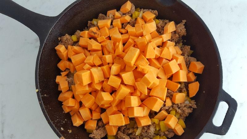 ground turkey sweet potato skillet recipe ad sweet potatoes