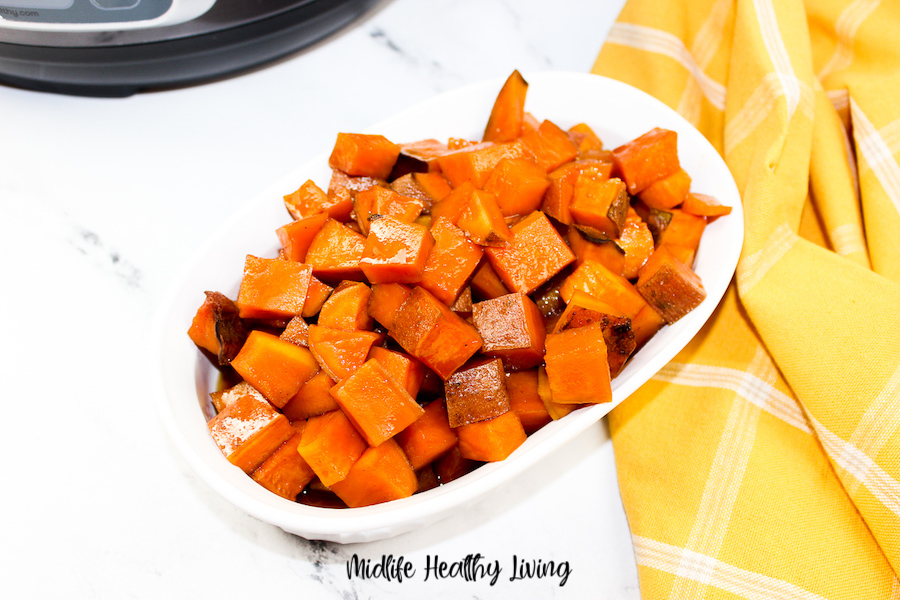 A look at the finished weight watchers sweet potatoes.