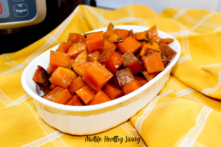 A close up view of the finished weight watchers candied sweet potatoes made in the Instant Pot