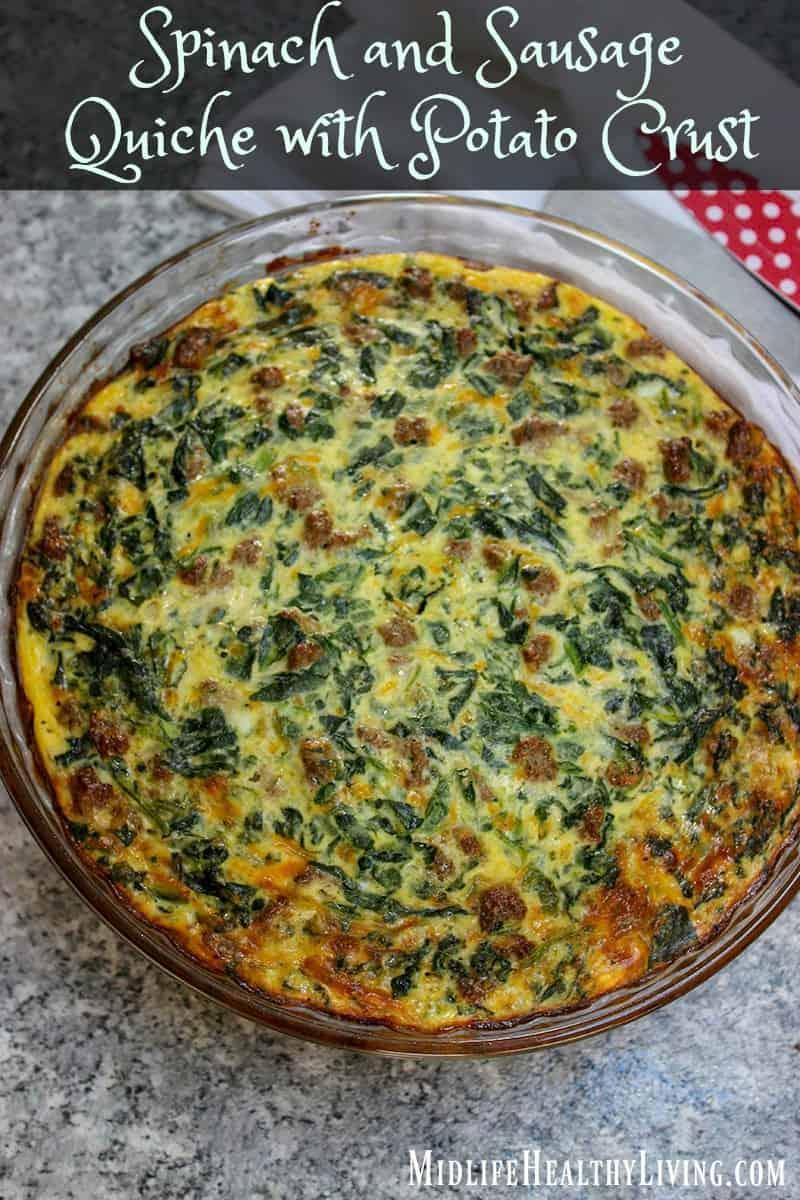Spinach and Sausage Quiche with Potato Crust Recipe
