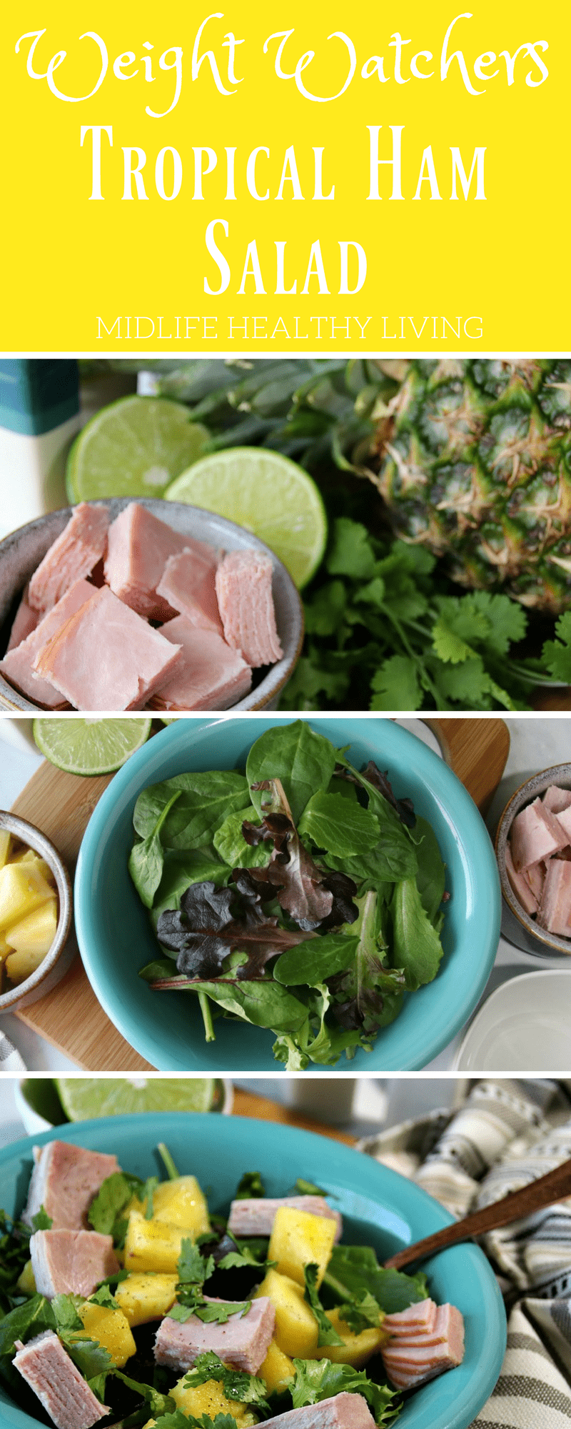 This Weight Watchers Tropical Ham Salad is so simple and only takes a few minutes to make. There is only 3 Weight Watchers Freestyle Smart Points in each serving!