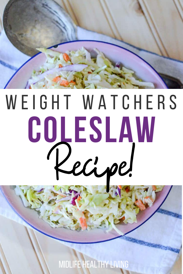 The finished Coleslaw recipe ready to eat with title across the middle.