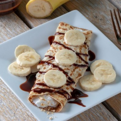 These Chocolate Banana Butter Cup Crepesoffer a healthy way to quench your sweet tooth! If you would rather a lower glycemic fruit you could substitute strawberries or raspberries in place of the banana.