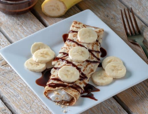 These Chocolate Banana Butter Cup Crepes offer a healthy way to quench your sweet tooth! If you would rather a lower glycemic fruit you could substitute strawberries or raspberries in place of the banana.