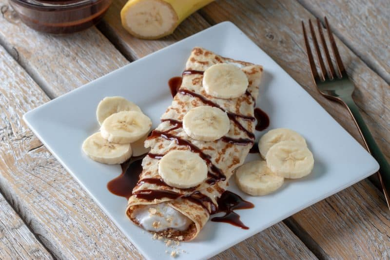 Weight Watchers chocolate banana crepes are simple to make, and tasty. At just 4 Freestyle Smart Points each, they're a low point breakfast!