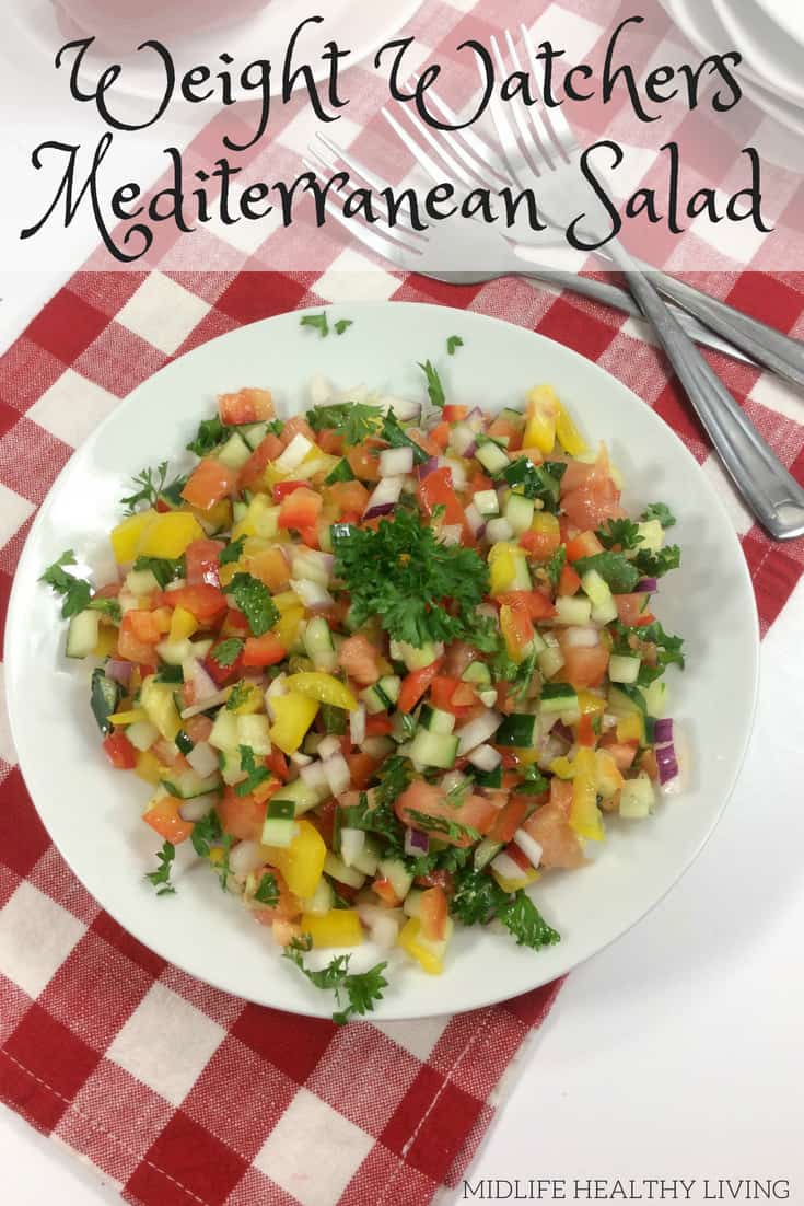 It's the summer time! That means we all want light and healthy recipes to fill us up, keep us happy, and not weigh us down, right?! This Weight Watchers Mediterranean salad is light and delicious. You'll want to make this healthy salad recipe all summer long.