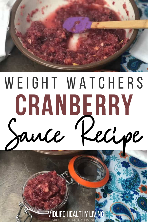 Weight Watchers cranberry sauce recipe pin with title in the middle.