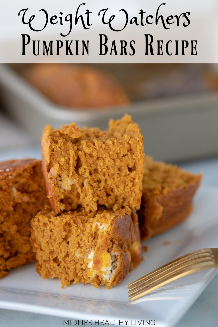 Pin showing the finished pumpkin bars with title across the top