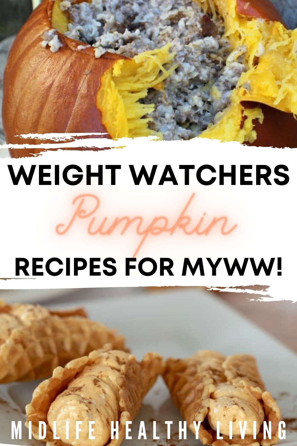 Pin showing some of the weight watchers pumpkin recipes ready to eat with title across the middle.