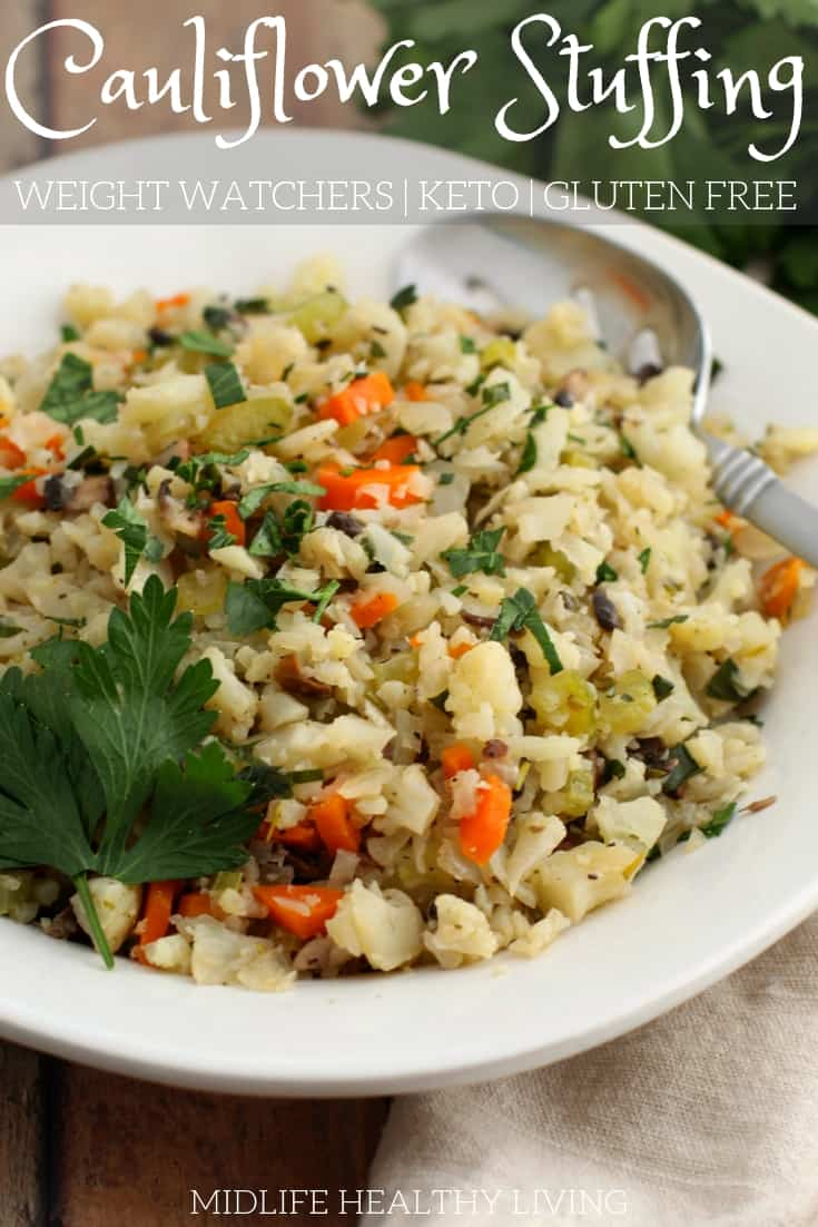 Try this cauliflower stuffing recipe for a low carb, Weight Watchers friendly, gluten free alternative. It's a great low carb stuffing recipe!