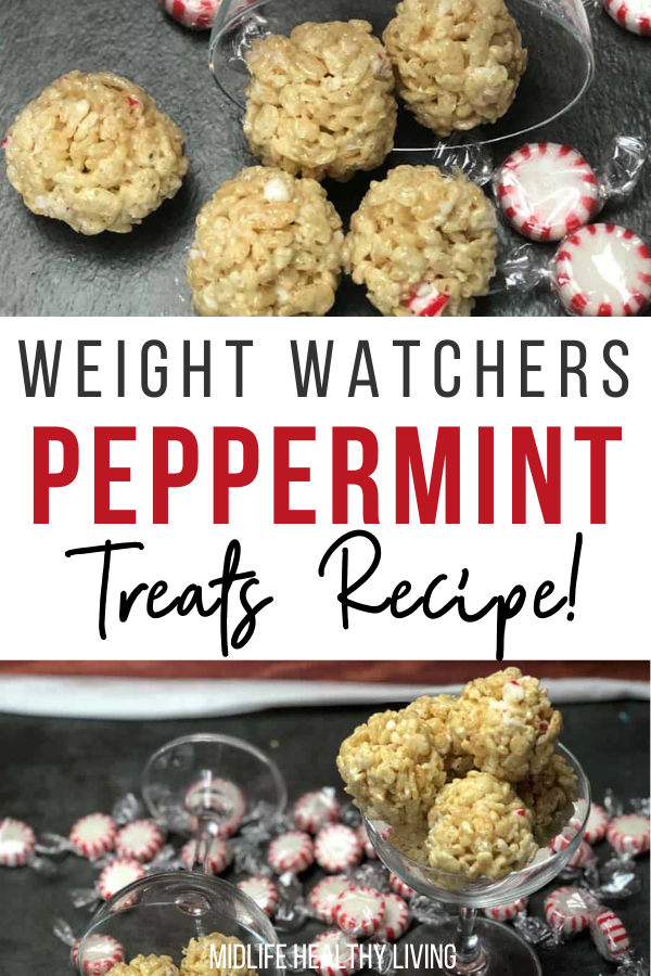 Pin showing the finished weight watchers peppermint treats ready to eat with title across the middle.